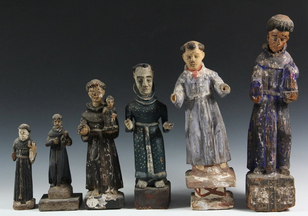(6) SPANISH COLONIAL SANTOS - 19th c. Figures of Male