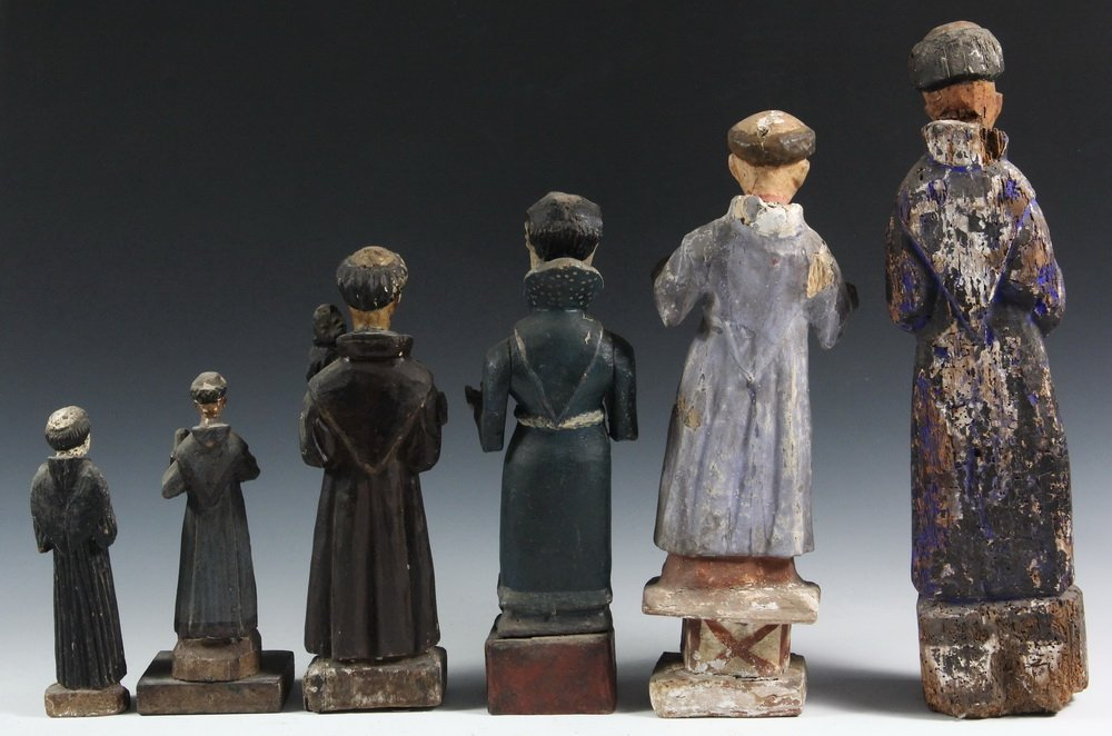 (6) SPANISH COLONIAL SANTOS - 19th c. Figures of Male - 2