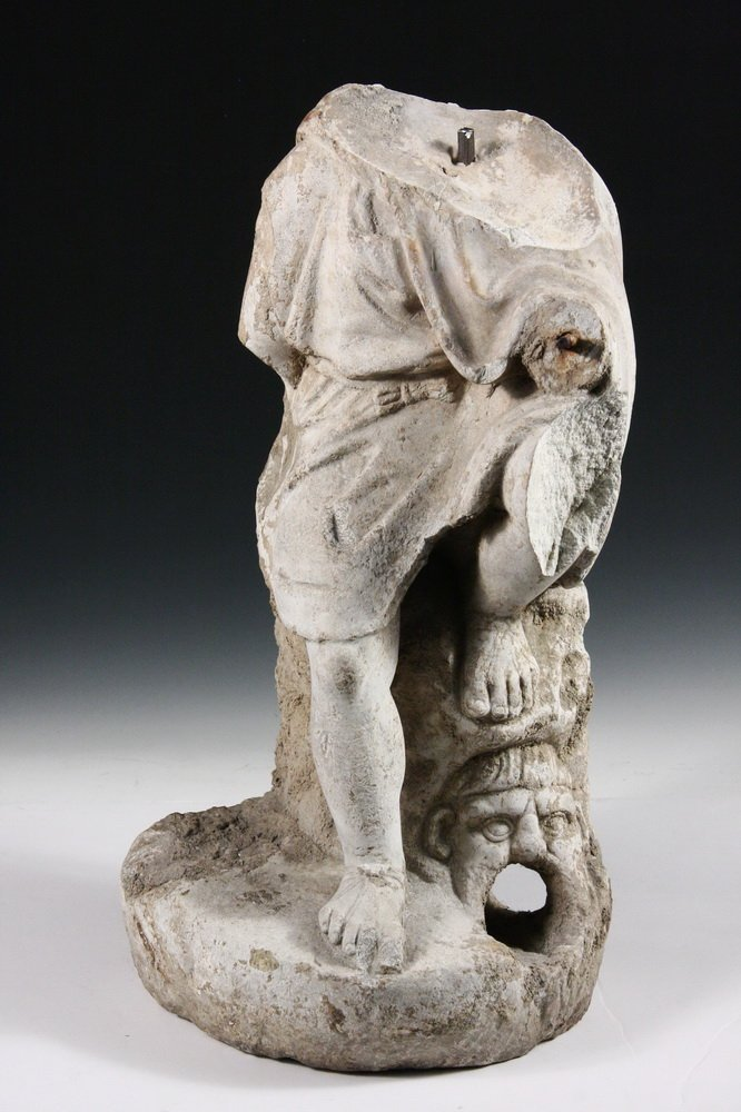 ANCIENT ROMAN FOUNTAINHEAD - Carved Marble Figure of a