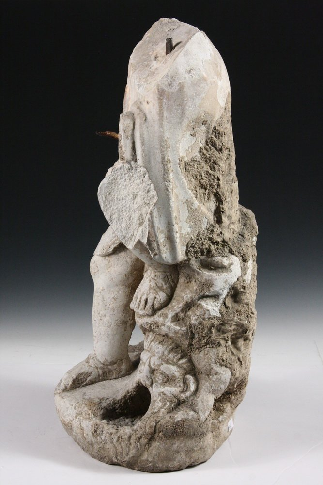 ANCIENT ROMAN FOUNTAINHEAD - Carved Marble Figure of a - 3