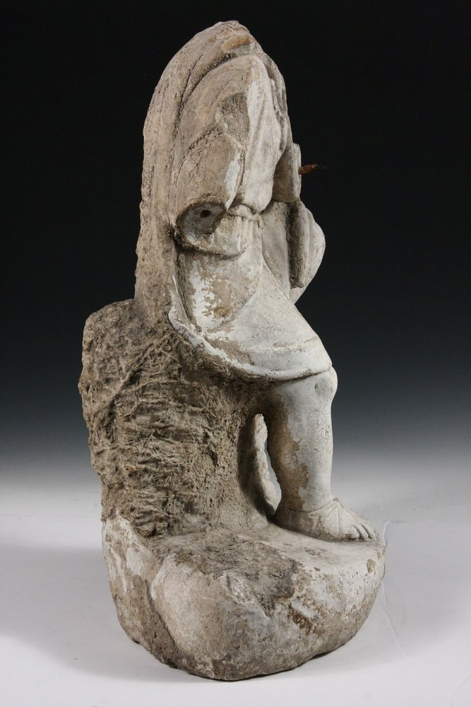 ANCIENT ROMAN FOUNTAINHEAD - Carved Marble Figure of a - 6