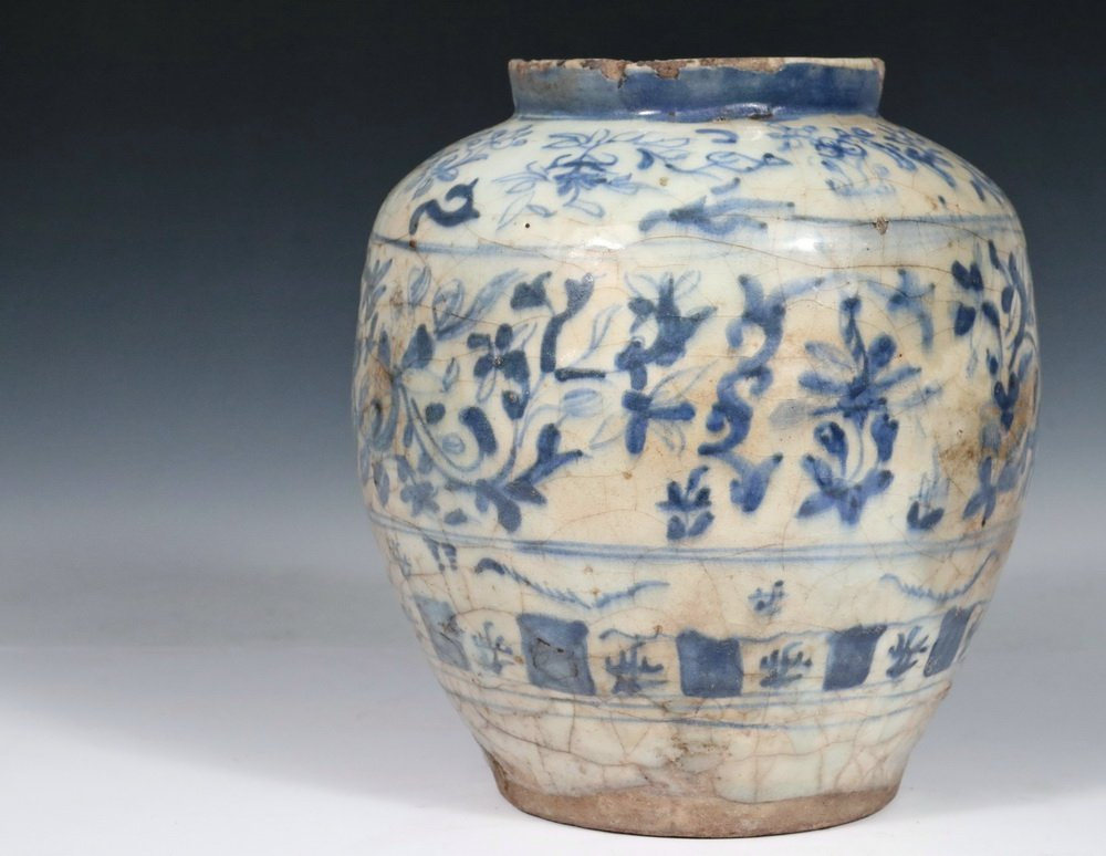 EARLY PERSIAN POTTERY JAR - Seljuk Blue and White