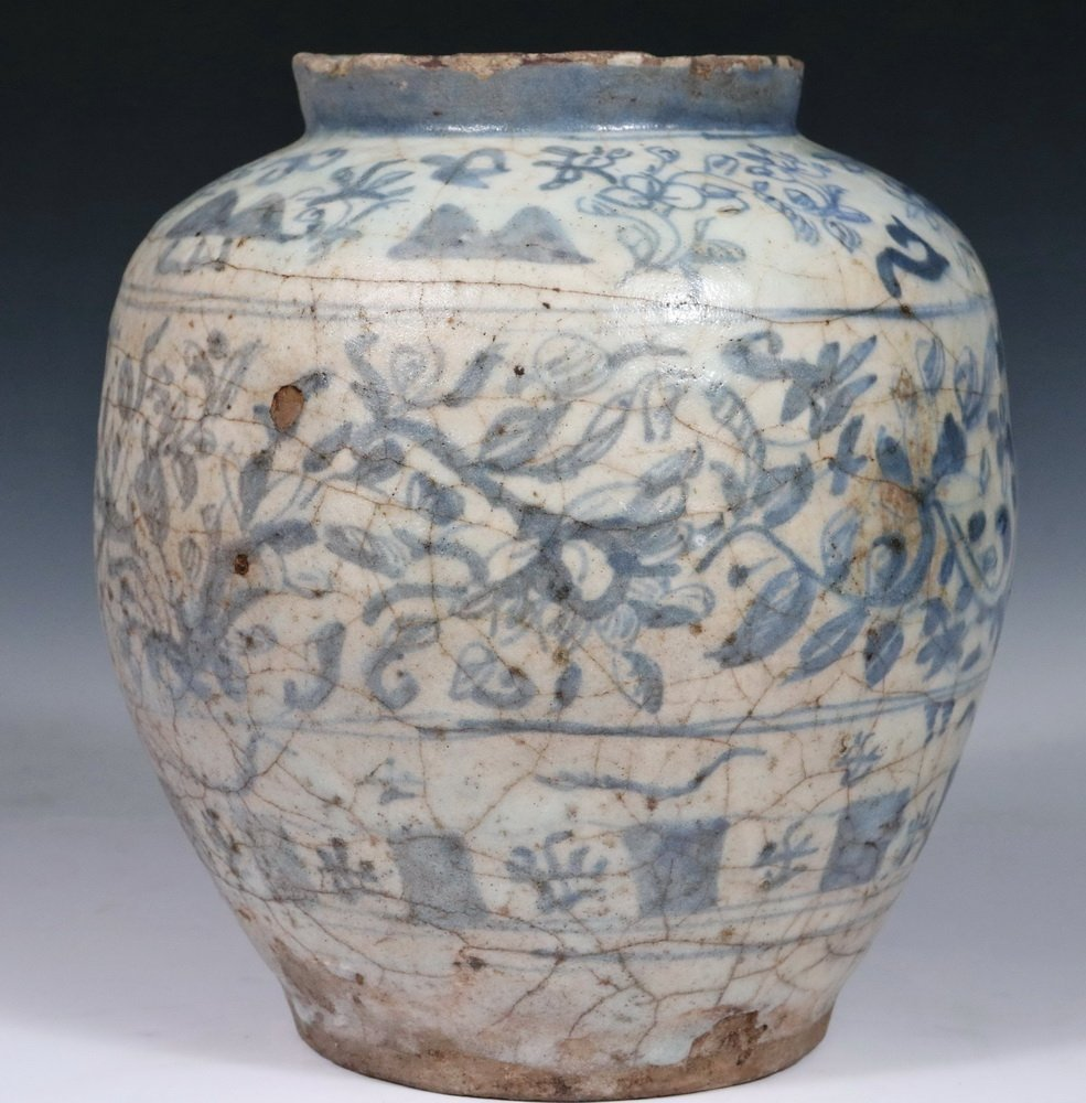 EARLY PERSIAN POTTERY JAR - Seljuk Blue and White - 2
