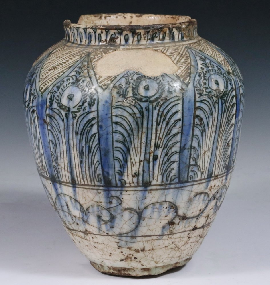 EARLY PERSIAN POTTERY JAR - Seljuk Black, Blue and - 2