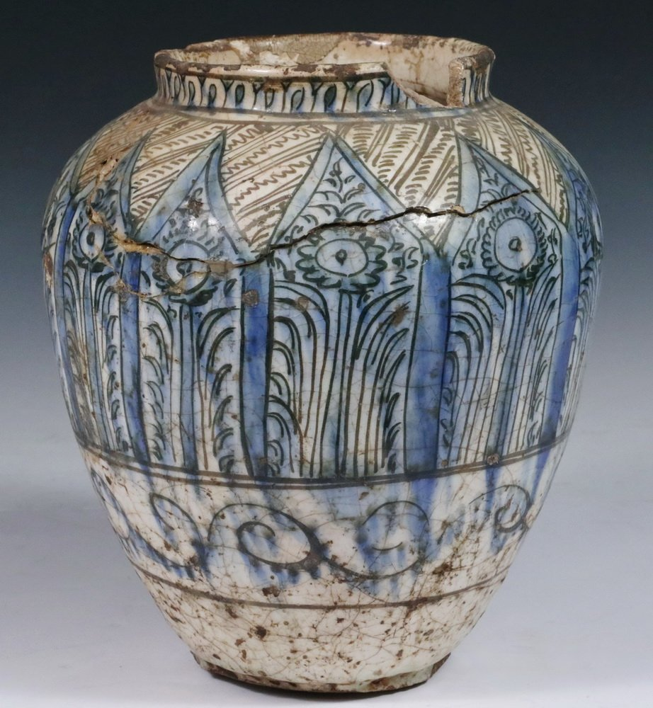 EARLY PERSIAN POTTERY JAR - Seljuk Black, Blue and - 3
