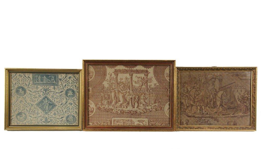 """(3) FRAMED FRENCH PRINT FABRICS - Rare Original """"Prints"""