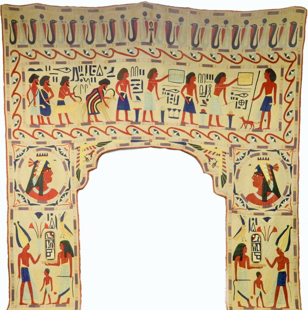 EGYPTIAN PORTAL DRAPERY - Cotton Applique Entry Mantle,