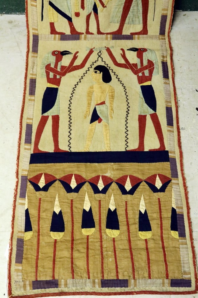 EGYPTIAN PORTAL DRAPERY - Cotton Applique Entry Mantle, - 2
