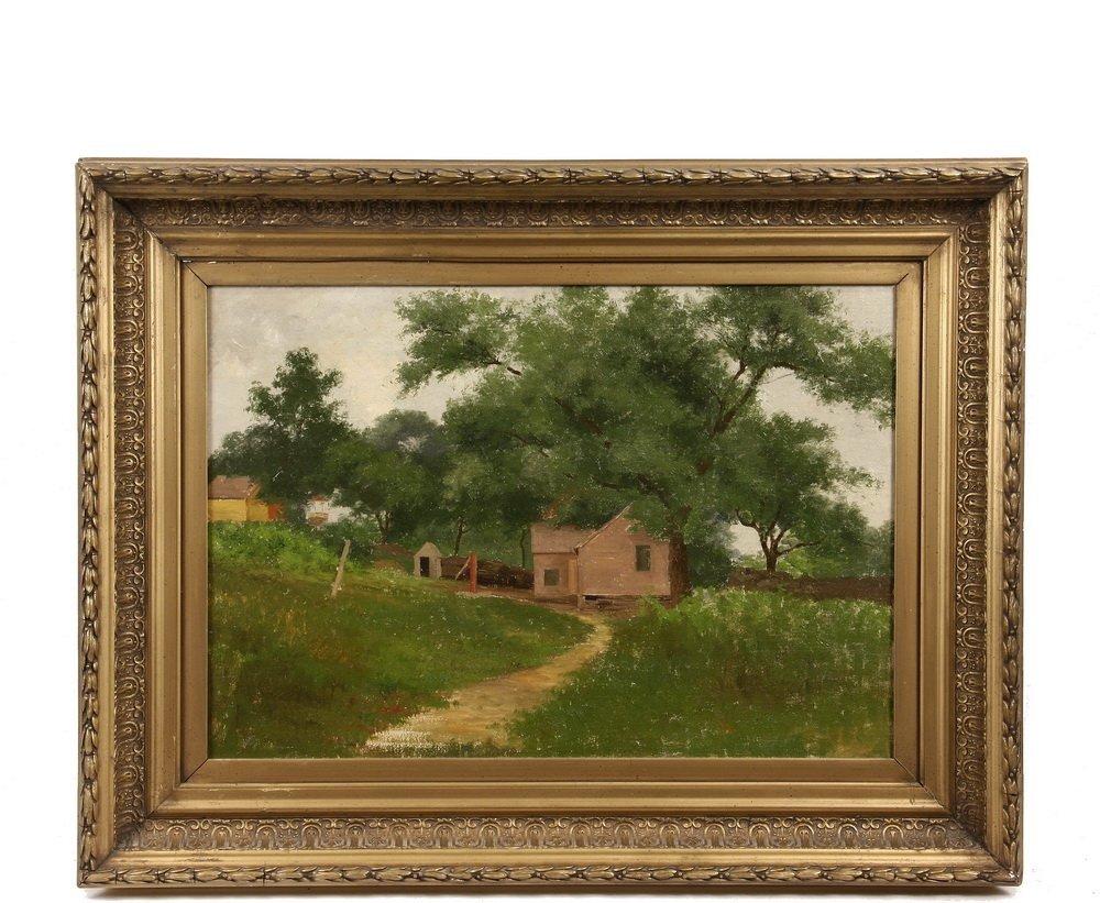 EDWARD HILL (NH/CA/OR, 1843-1923) - Farmhouse under