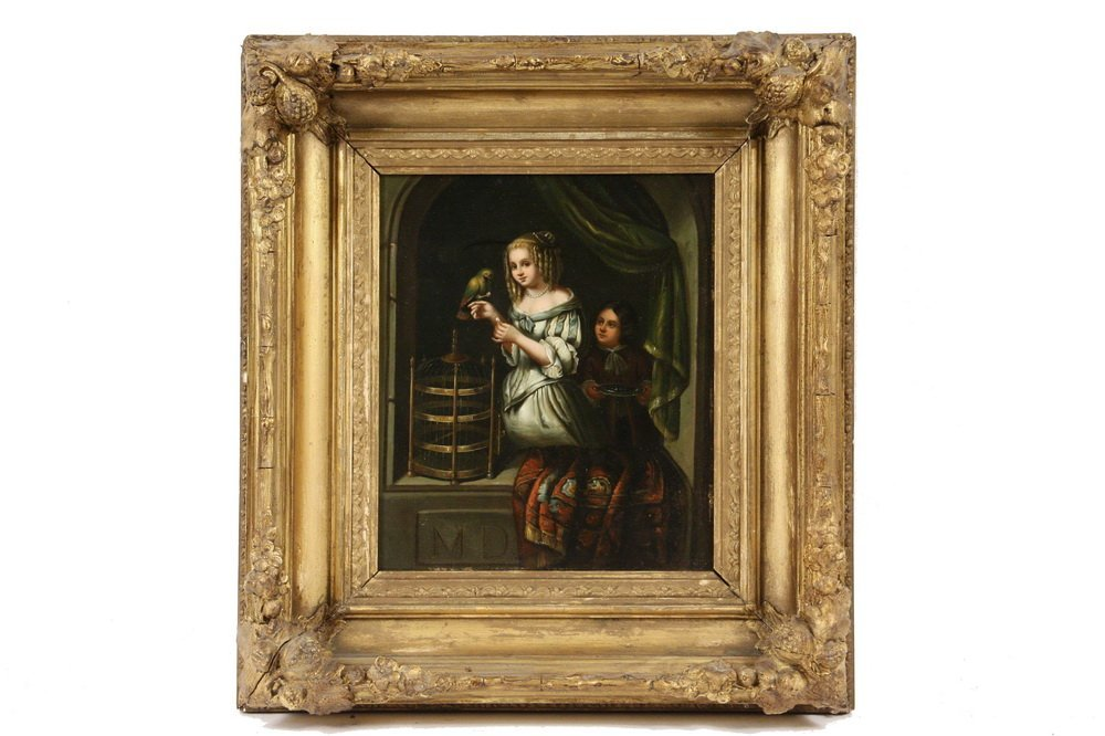 DUTCH STYLE PAINTING - Genre Scene of Two Sisters with