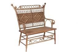HEYWOOD-WAKEFIELD WICKER SETTEE - Victorian Bench,