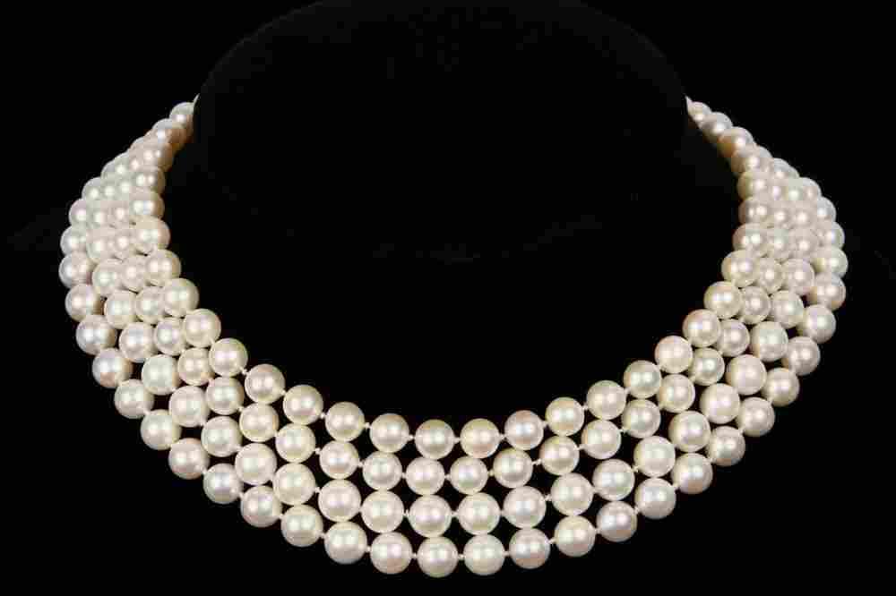 NECKLACE - Quadruple Strand Cultured Pearl Necklace