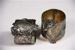 NAPKIN RINGS - Pair of Russian 84-Silver Art Nouveau