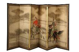 JAPANESE PAINTED FOLDING SCREEN  Late 19th to early