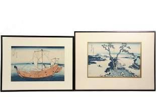 KATSUSHIKA HOKUSAI (1760-1849) - (2) Framed Woodblock