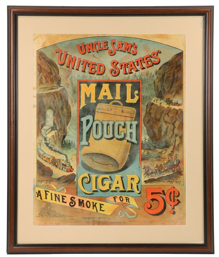 X-RARE WESTERN THEMED FRAMED CIGAR ADVERTISEMENT -