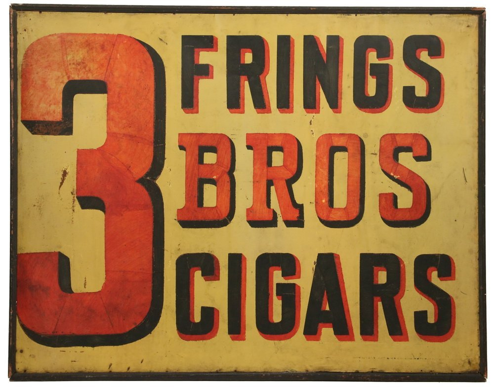 """LARGE TOBACCIANA ADVERTISEMENT SIGN - """"Frings 3 Bros"""