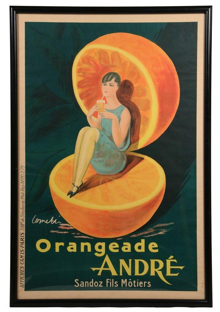 "ADVERTISING BROADSIDE POSTER - ""Orangeade Andre, Sandoz"