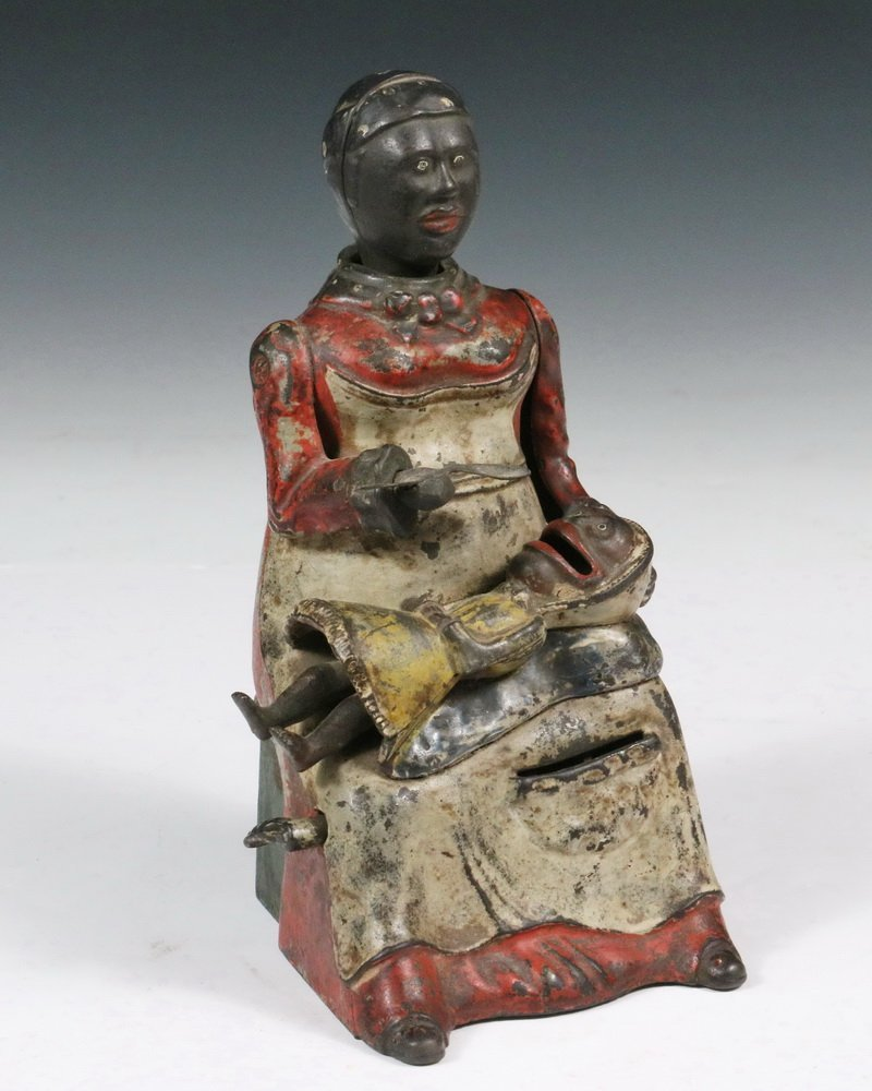 """MECHANICAL BANK - Painted Cast Iron """"Mammy with Spoon"""""""