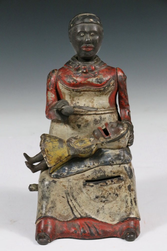 """MECHANICAL BANK - Painted Cast Iron """"Mammy with Spoon"""" - 2"""