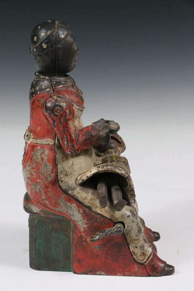 """MECHANICAL BANK - Painted Cast Iron """"Mammy with Spoon"""" - 3"""
