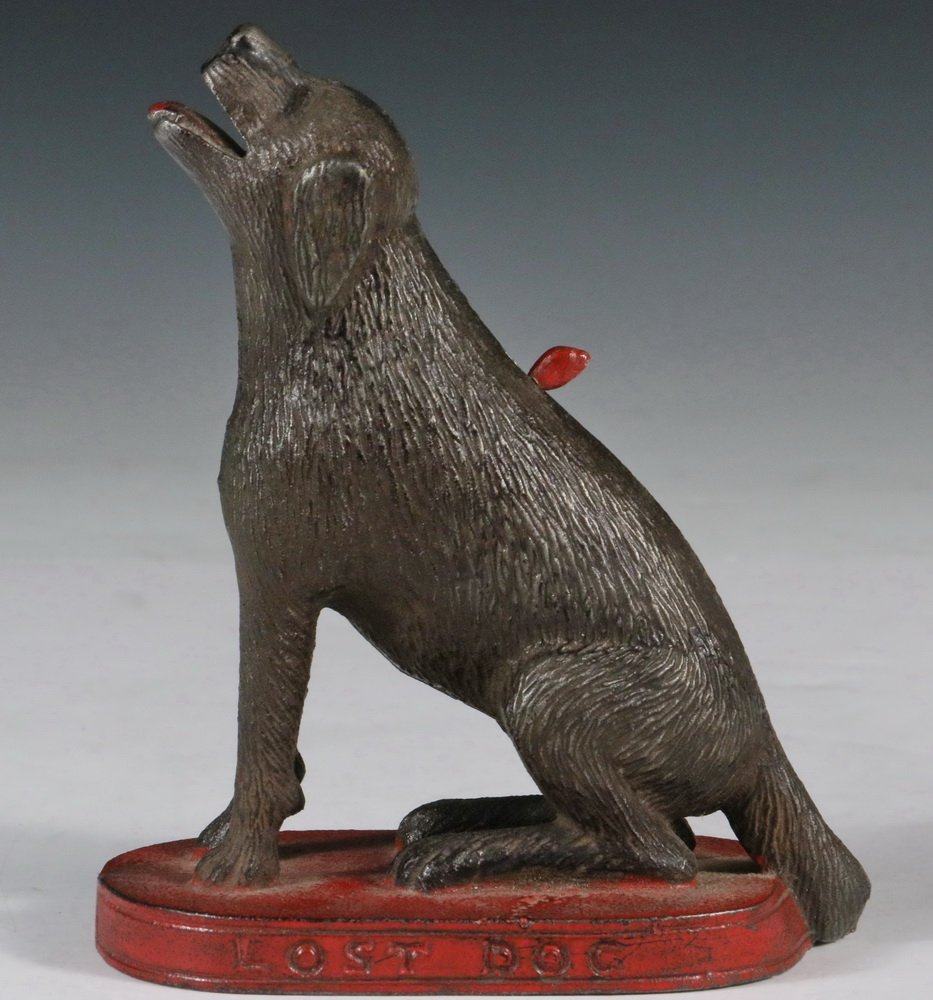 """MECHANICAL BANK - Painted Cast Iron """"Lost Dog"""""""