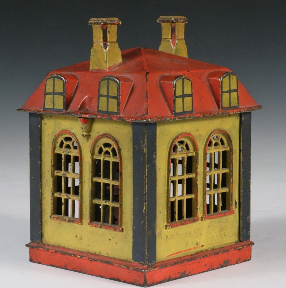 "MECHANICAL BANK - Painted Cast Iron ""Novelty Bank"" - 3"
