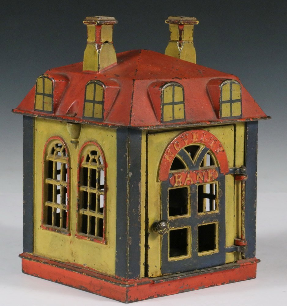 "MECHANICAL BANK - Painted Cast Iron ""Novelty Bank"" - 4"