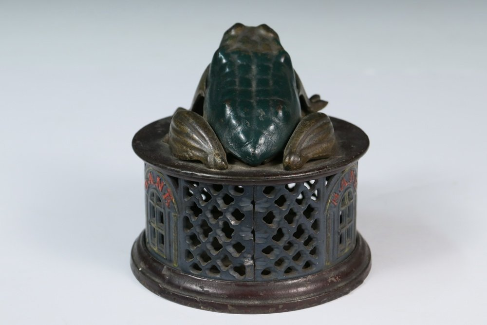 MECHANICAL BANK - Painted Cast Iron Mechanical Frog - 3