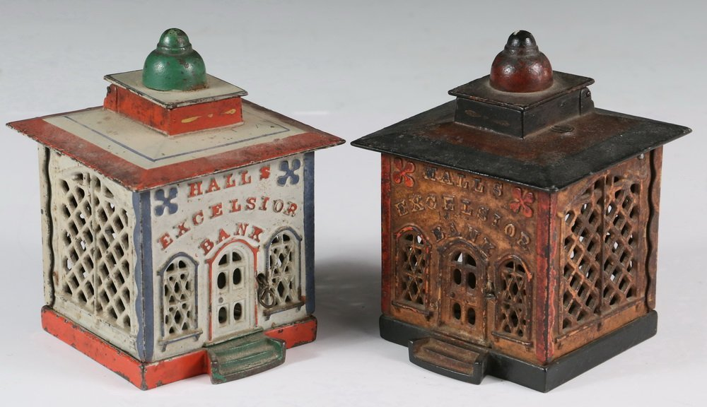 MECHANICAL BANKS - Two 19th c. 'Hall's Excelsior Bank'