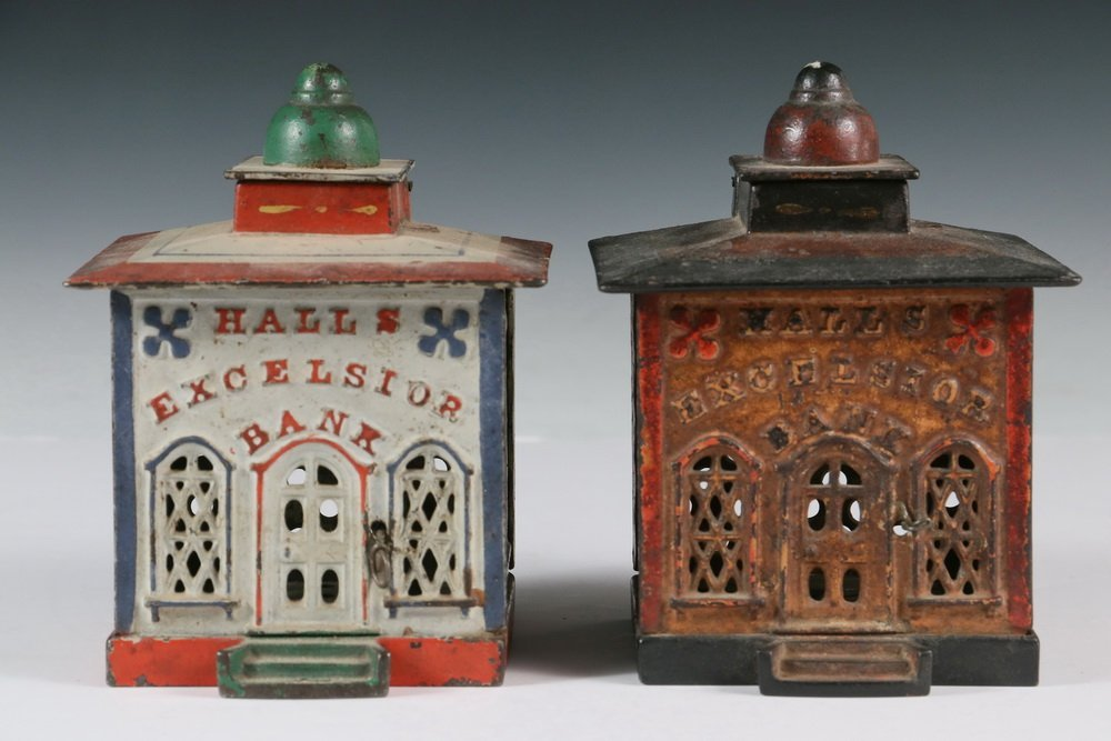 MECHANICAL BANKS - Two 19th c. 'Hall's Excelsior Bank' - 2