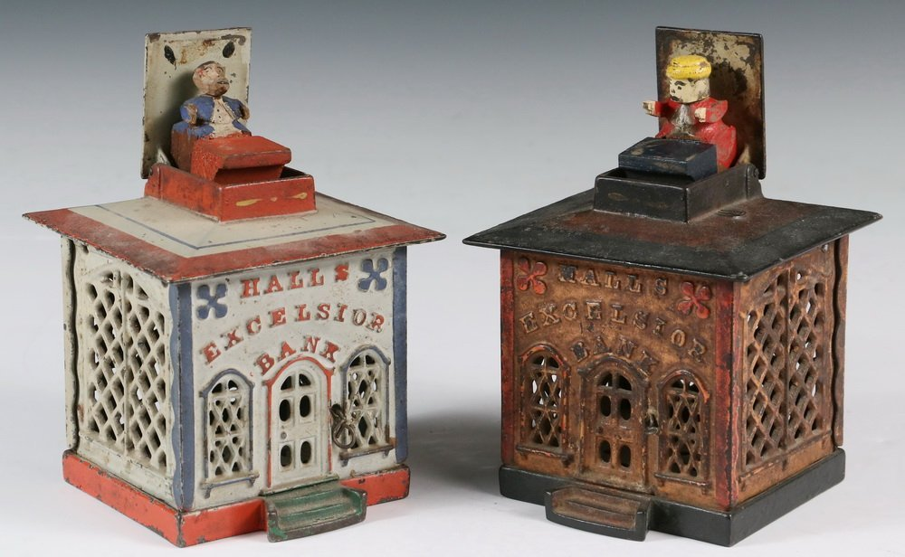 MECHANICAL BANKS - Two 19th c. 'Hall's Excelsior Bank' - 4