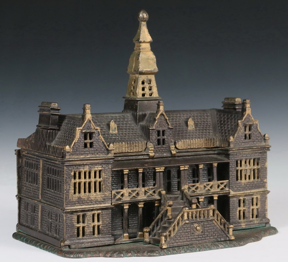 STILL BANK - Painted Cast Iron 'Palace' Still Bank by