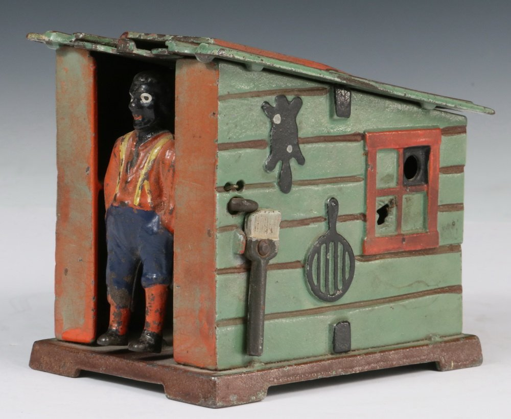MECHANICAL BANK - Painted Cast Iron 'Cabin Bank' by J &