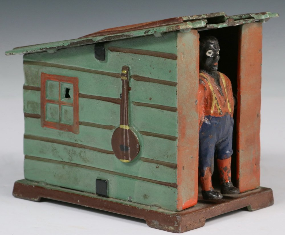 MECHANICAL BANK - Painted Cast Iron 'Cabin Bank' by J & - 3