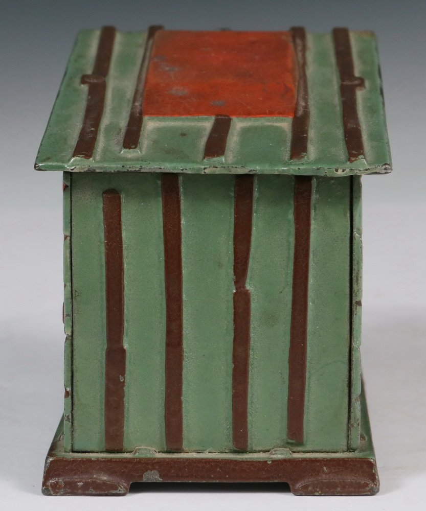 MECHANICAL BANK - Painted Cast Iron 'Cabin Bank' by J & - 4