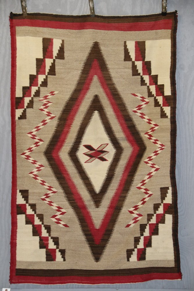 "NATIVE AMERICAN RUG - 40"" x 63 1/2"" - Antique Navajo"