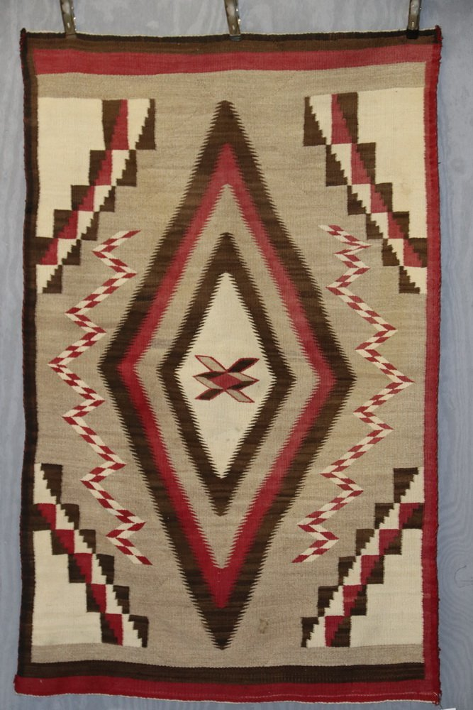 "NATIVE AMERICAN RUG - 40"" x 63 1/2"" - Antique Navajo - 2"