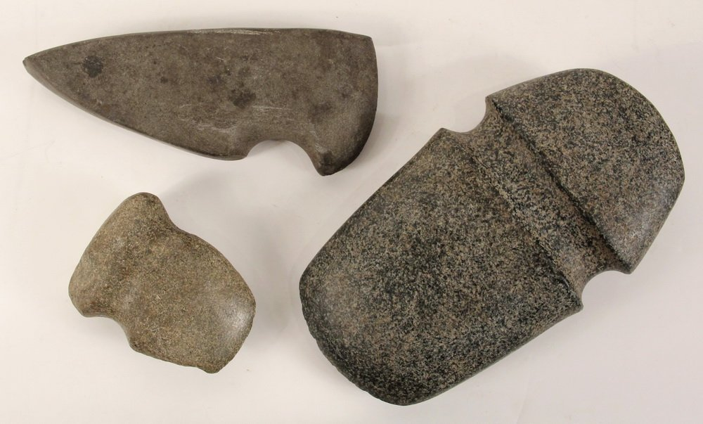 (3) STONE AXE HEADS - Native American Stone Axe Heads - 2