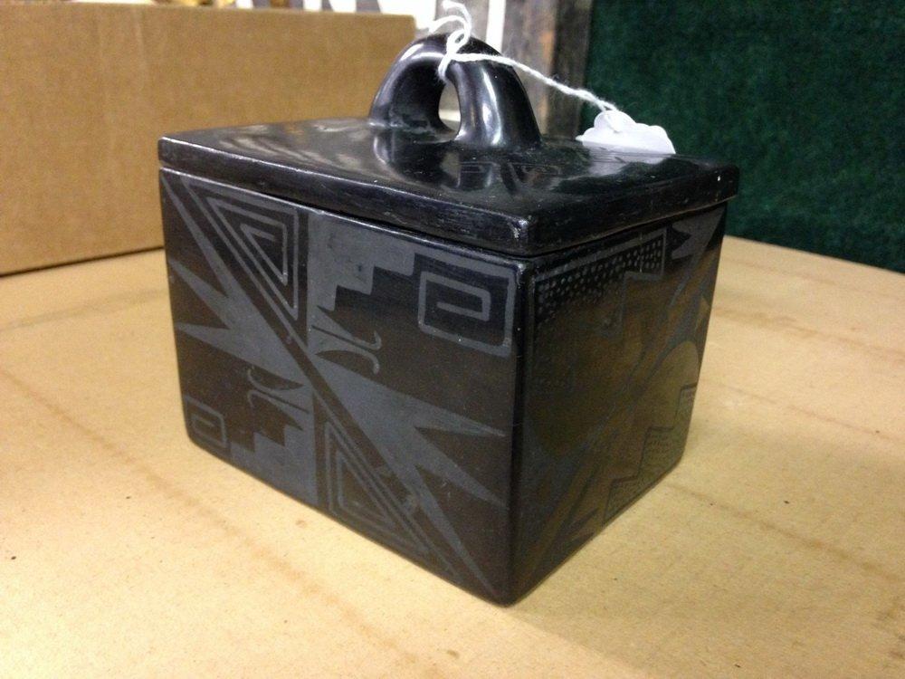 NATIVE AMERICAN POTTERY - Blackware Box, Maria - 6