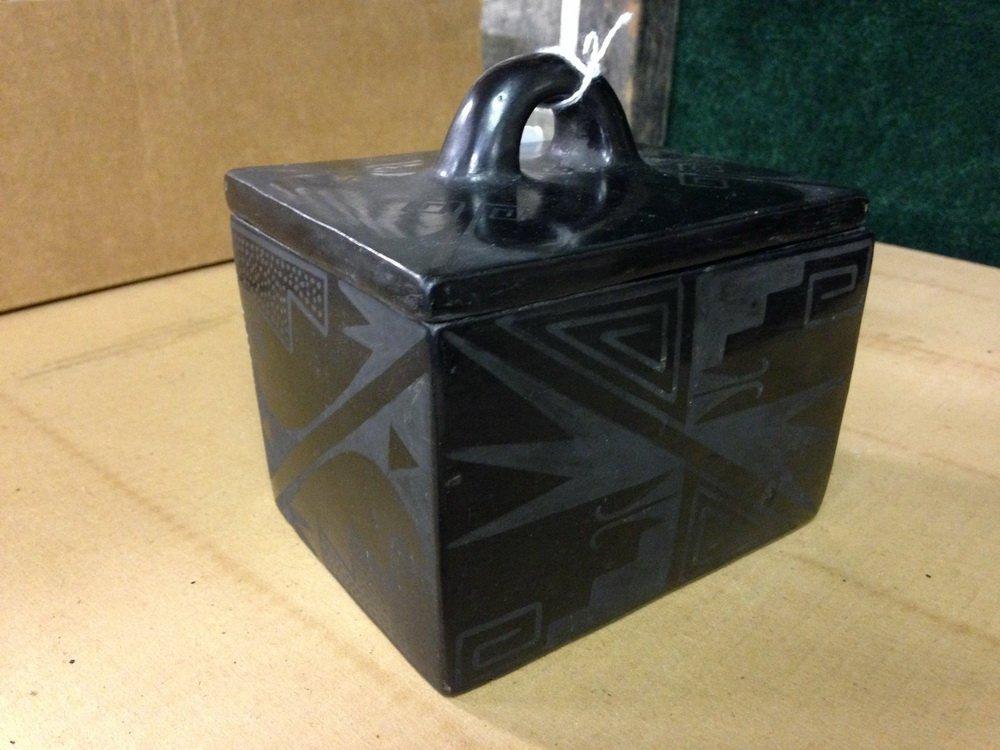 NATIVE AMERICAN POTTERY - Blackware Box, Maria - 7