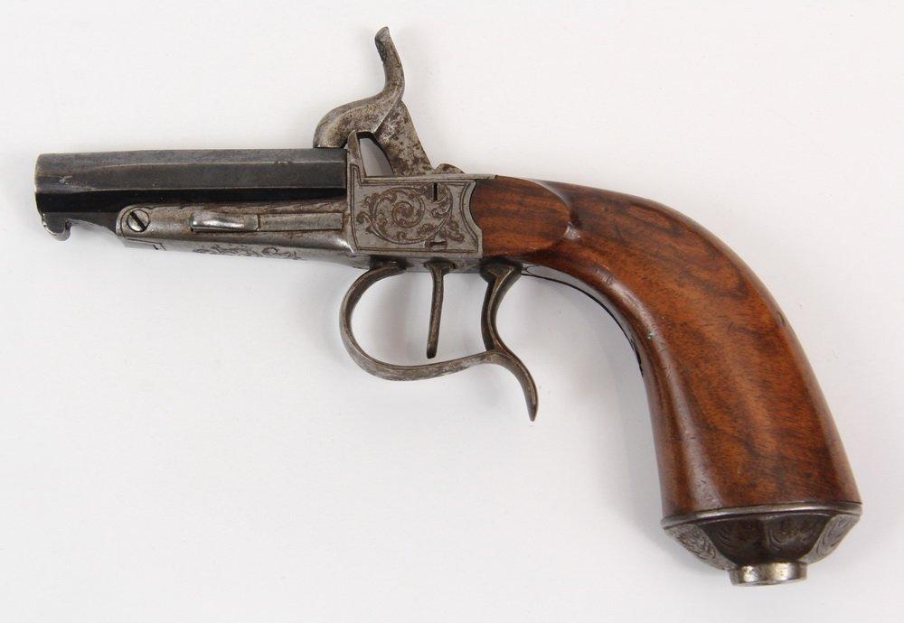NAPOLEON III BELGIAN MUFF PISTOL - Engraved Single Shot - 2