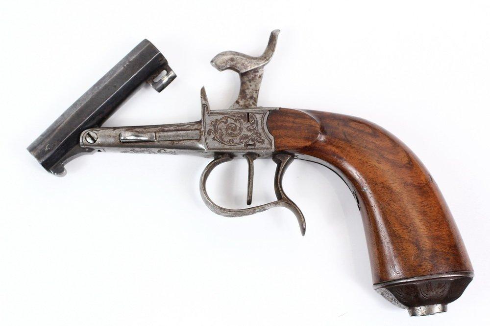 NAPOLEON III BELGIAN MUFF PISTOL - Engraved Single Shot - 6