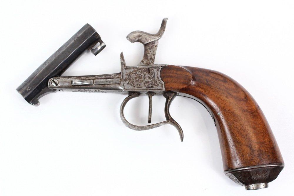 NAPOLEON III BELGIAN MUFF PISTOL - Engraved Single Shot - 7