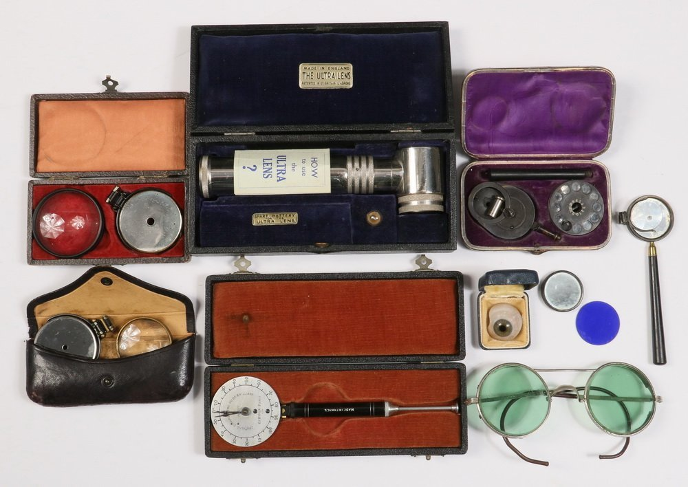 (6) CASED OPTHALMIC INSTRUMENTS, (1) UNCASED &