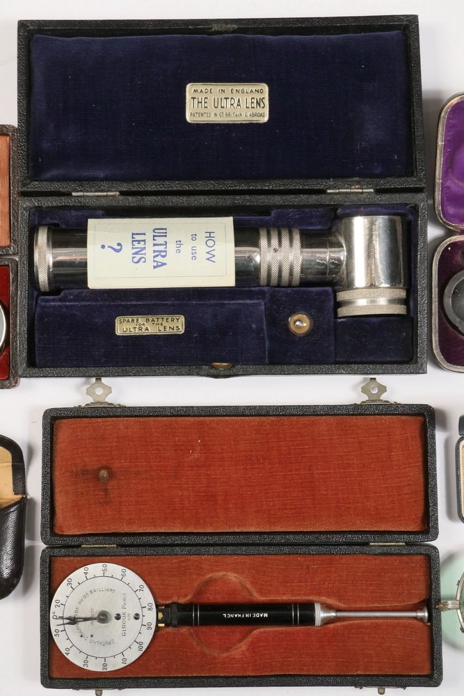 (6) CASED OPTHALMIC INSTRUMENTS, (1) UNCASED & - 3