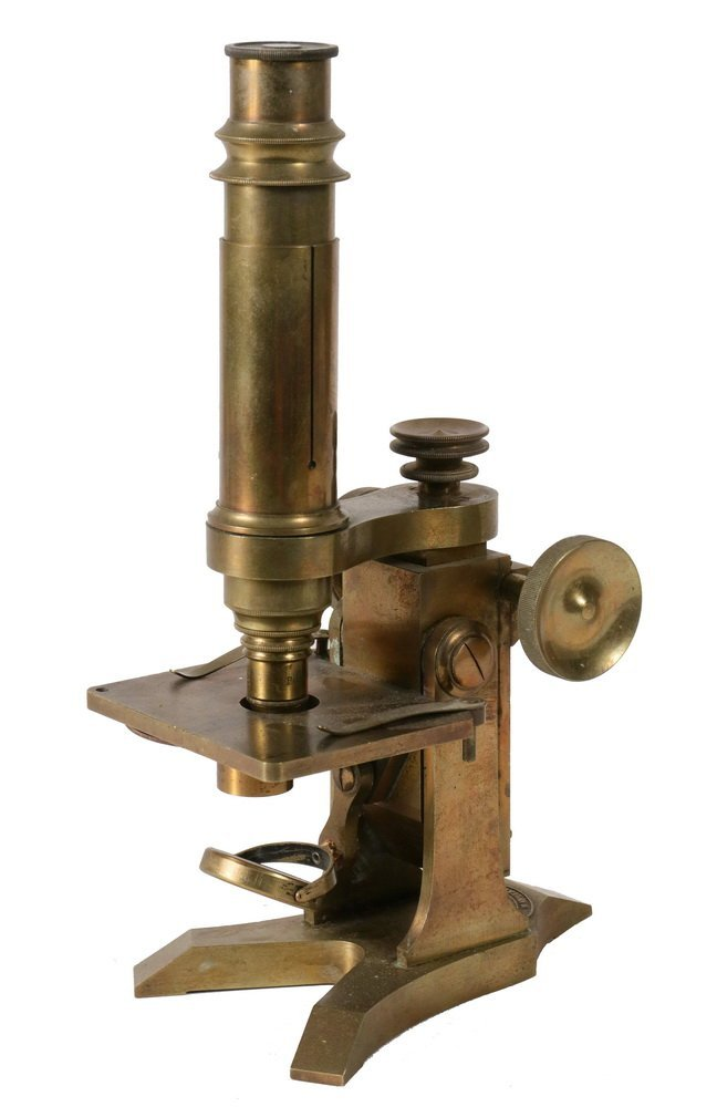 ANTIQUE MICROSCOPE - 19th c. Solid Brass English