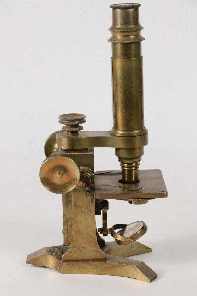 ANTIQUE MICROSCOPE - 19th c. Solid Brass English - 3