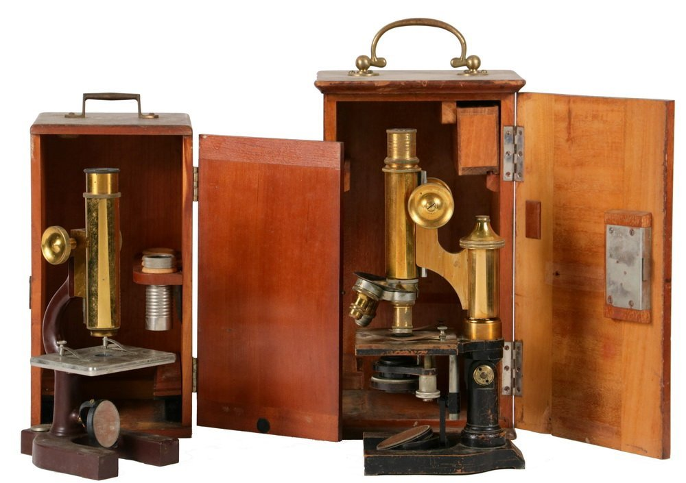 (2) CASED MICROSCOPES - Early 20th c. Microsopes in