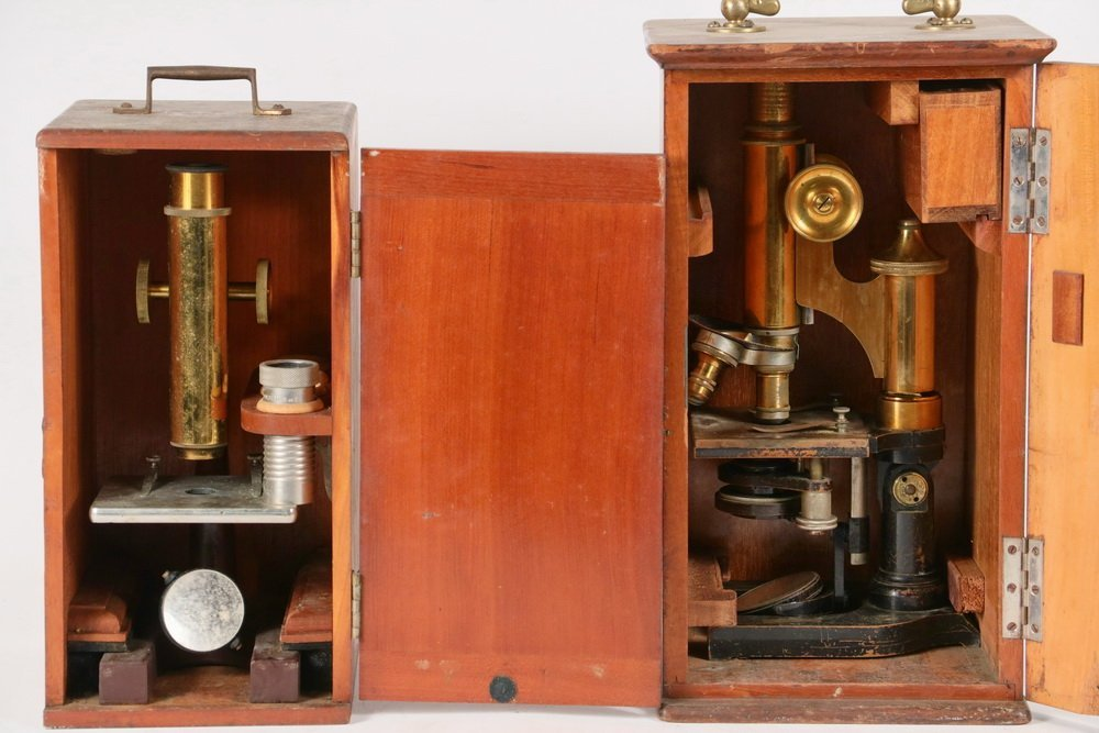 (2) CASED MICROSCOPES - Early 20th c. Microsopes in - 4